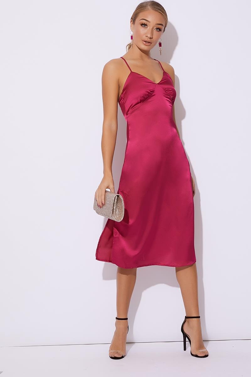 pink satin midi slip dress