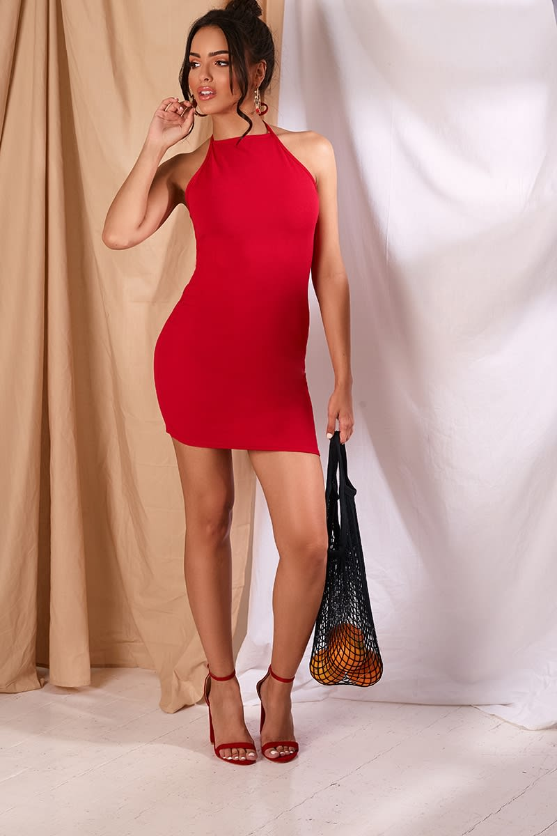 JOUANNA RED CREPE 90'S NECK MINI DRESS