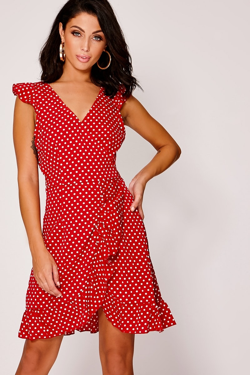 DEVENA RED POLKA DOT FRILL WRAP DRESS