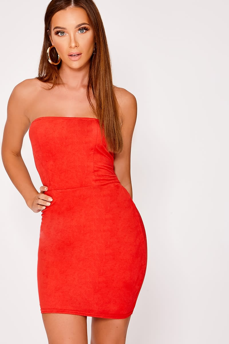 red faux suede bandeau mini dress
