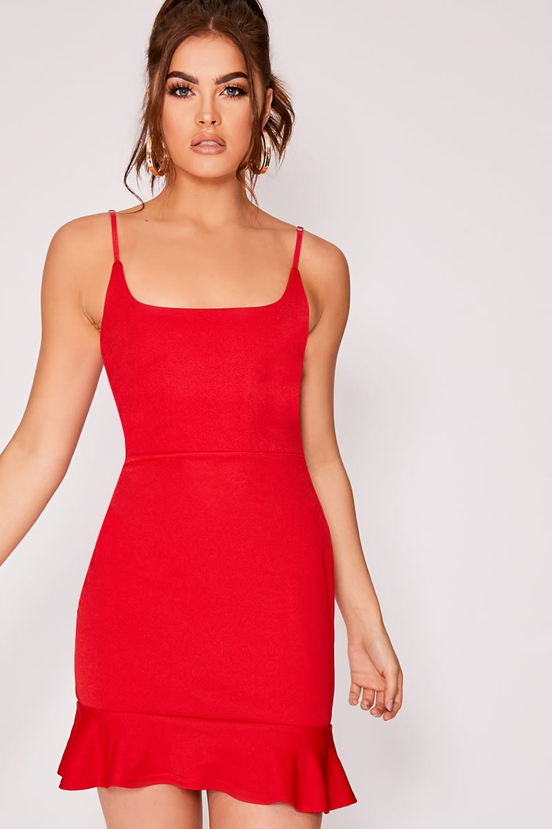 red frill hem mini dress