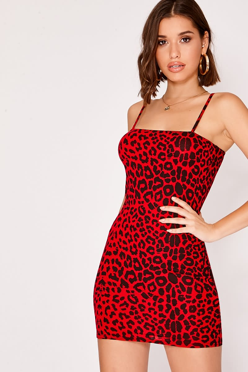 JASMINA RED LEOPARD PRINT STRAPPY SQUARE NECK MINI DRESS