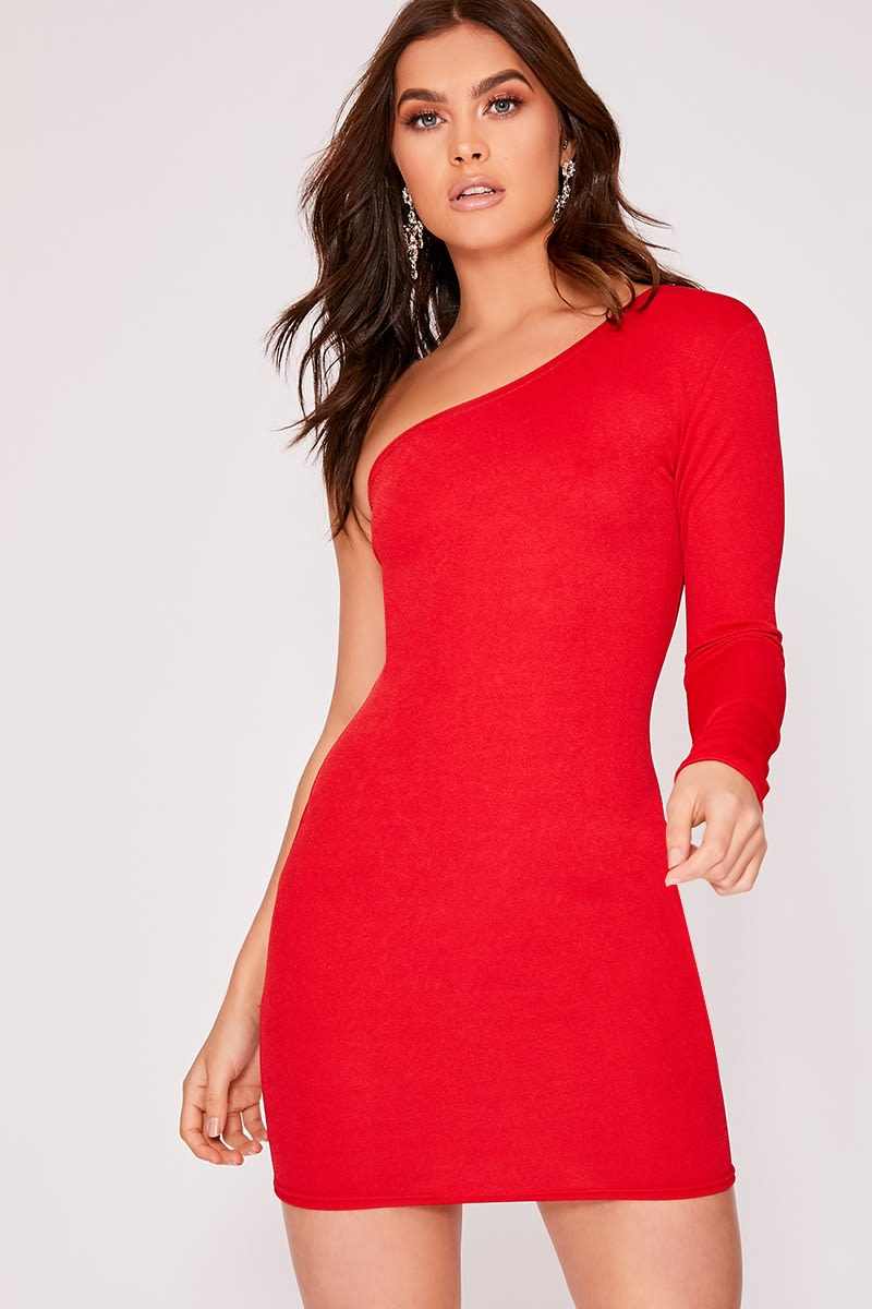 basic red one shoulder bodycon dress
