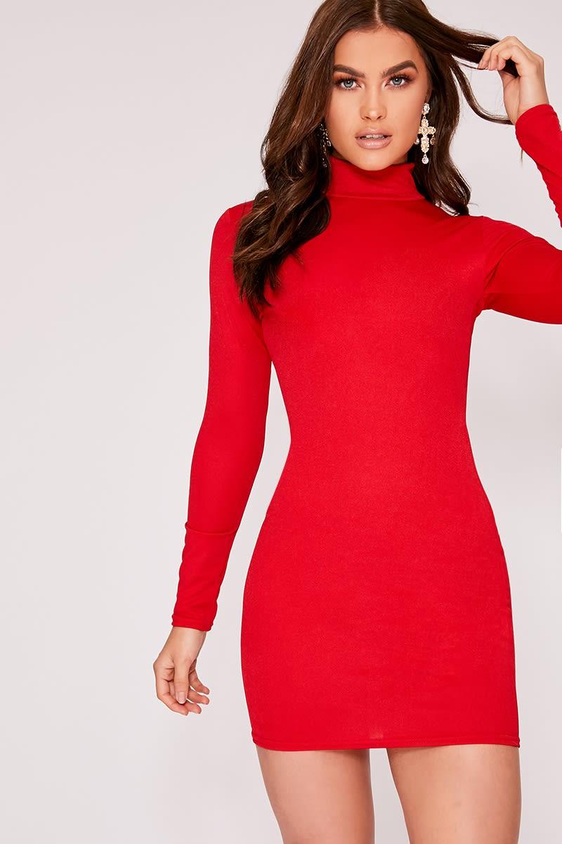 IZZELLA RED HIGH NECK BODYCON DRESS