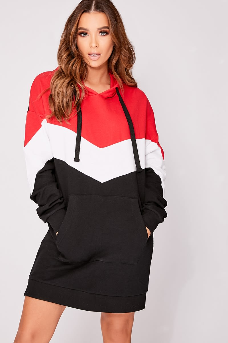 CASSIEY RED SPORTS PANEL OVERSIZED HOODIE DRESS