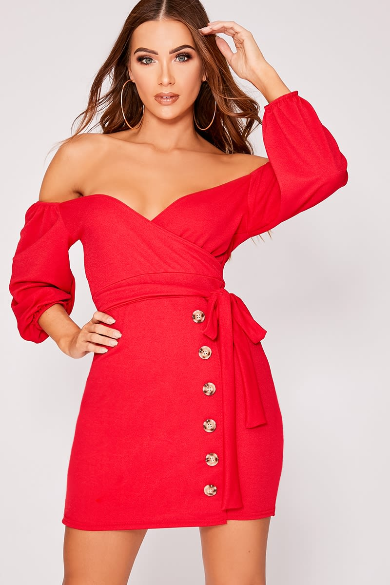 CAELY RED BARDOT HORN BUTTON MINI DRESS