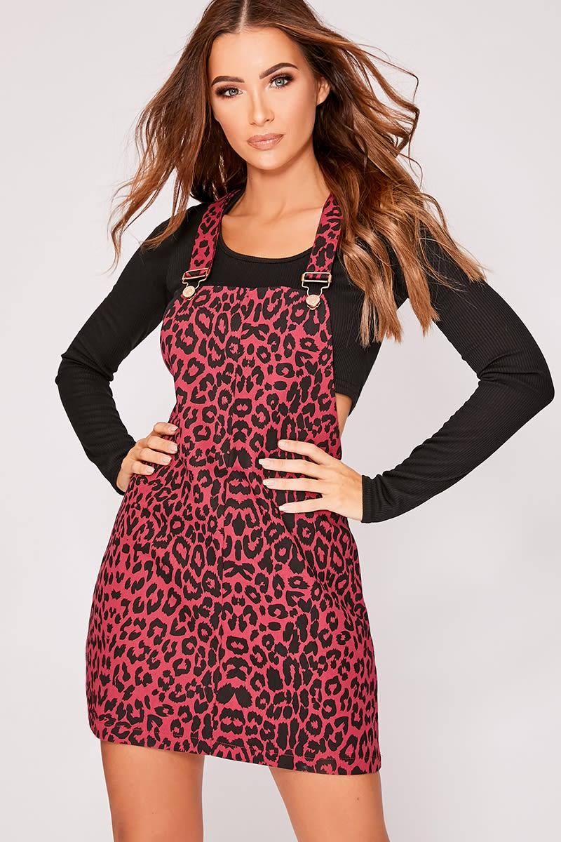 berry leopard print denim pinafore dress