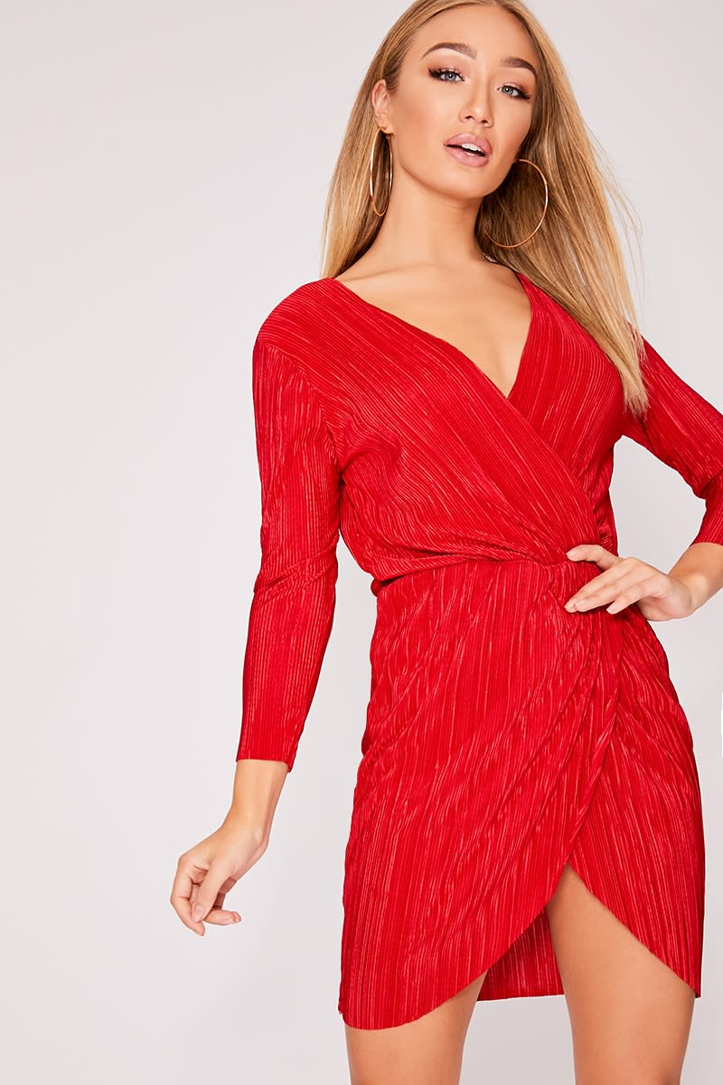 BLAZIE RED PLEATED WRAP DRESS