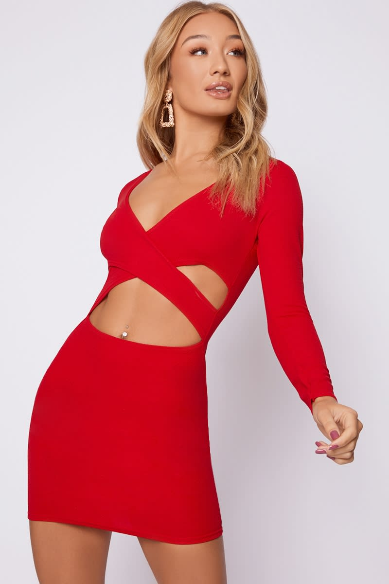 red long sleeve cut out wrap dress