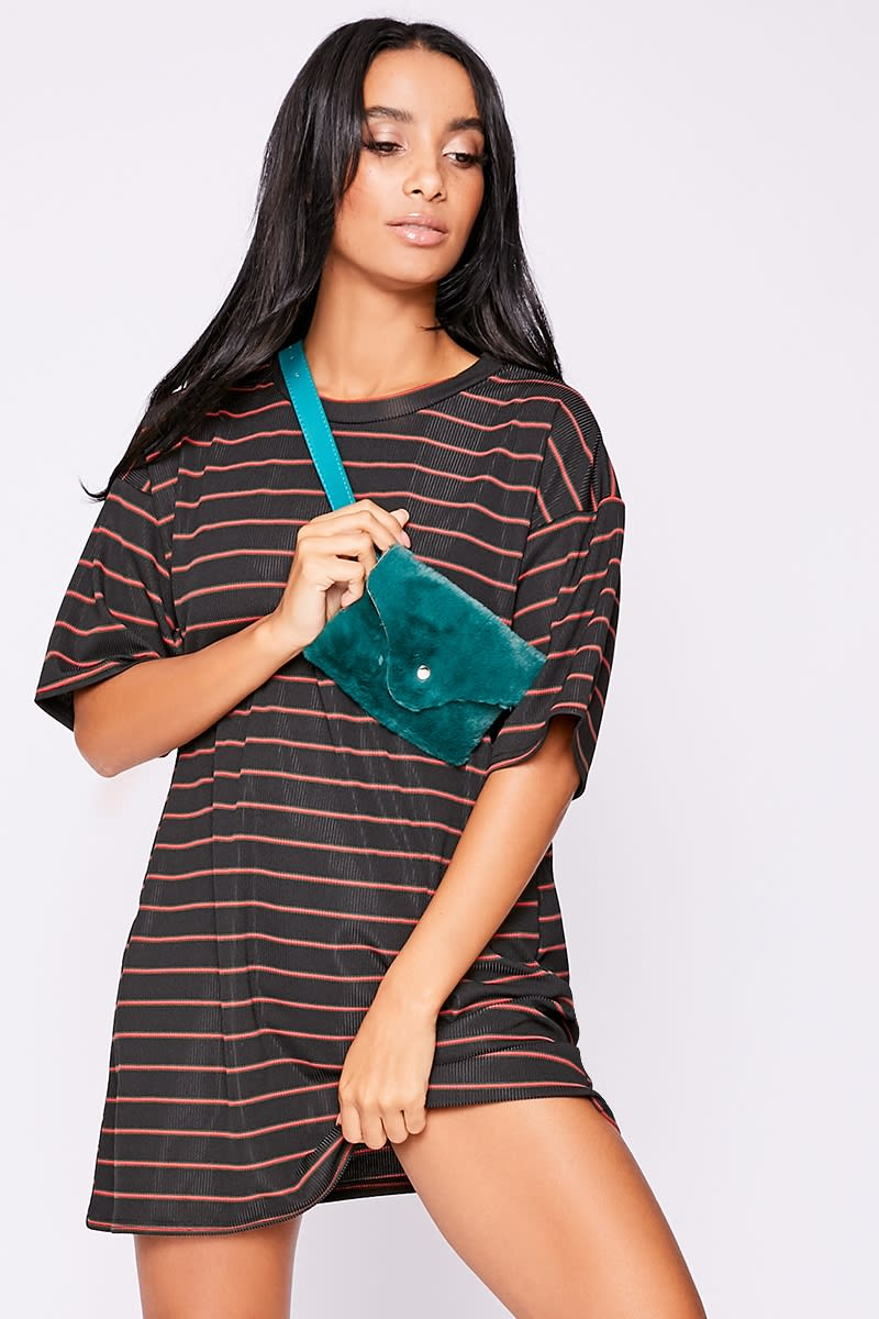red striped ribbed t shirt dress