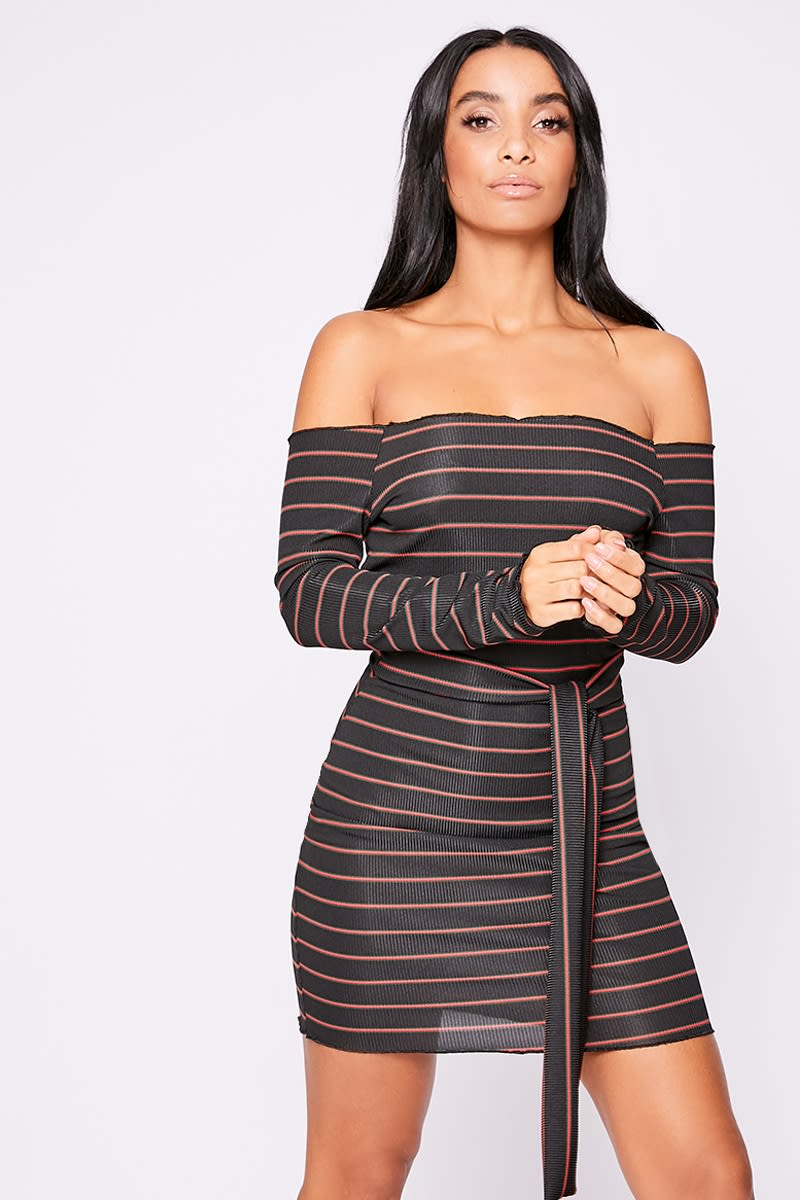 red striped ribbed tie waist bardot dress