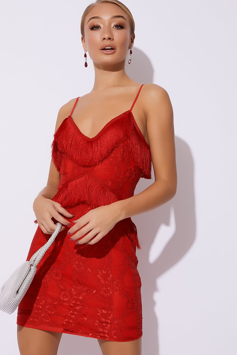 red tassel lace cami dress