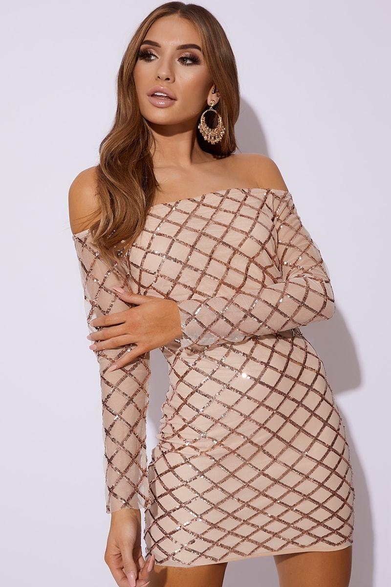 rose gold diamond sequin mesh bardot dress