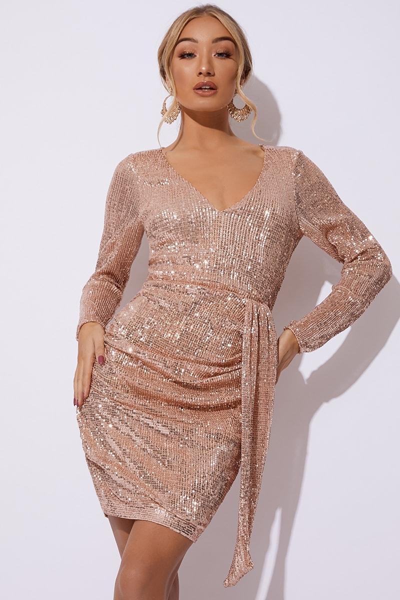 rose gold sequin plunge drape dress