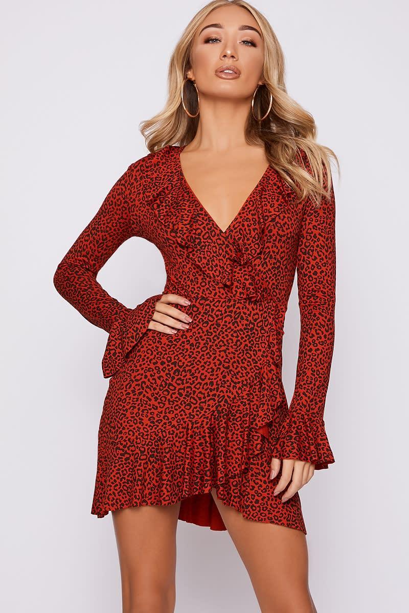 rust leopard print frill wrap dress