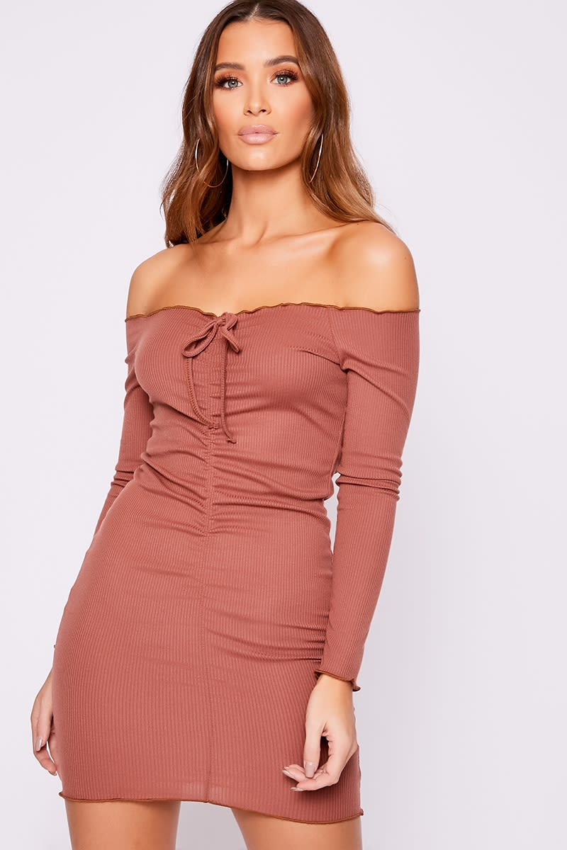 rust ribbed bardot ruched mini dress