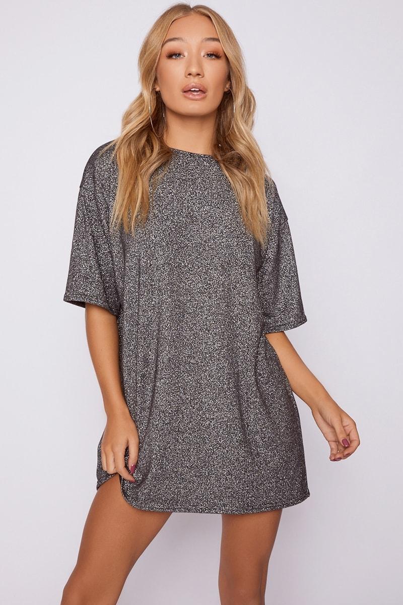 silver glitter t shirt dress