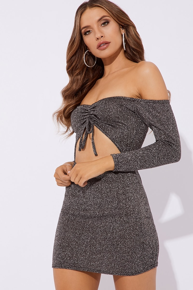 silver bardot ruched lurex mini dress