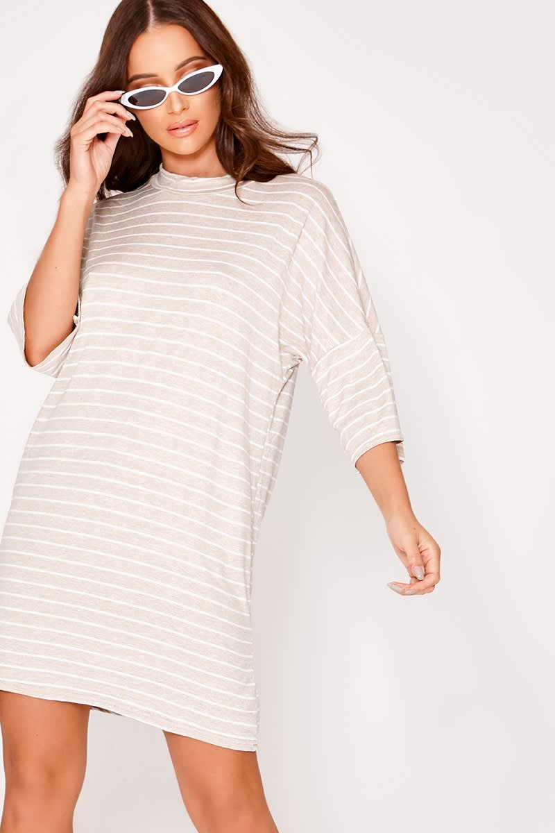 LORI STONE STRIPED OVERSIZED T SHIRT DRESS