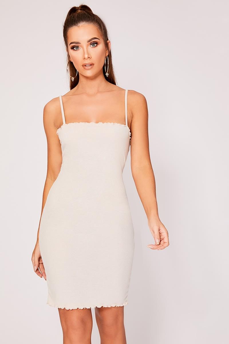 stone ribbed frill edge cami dress