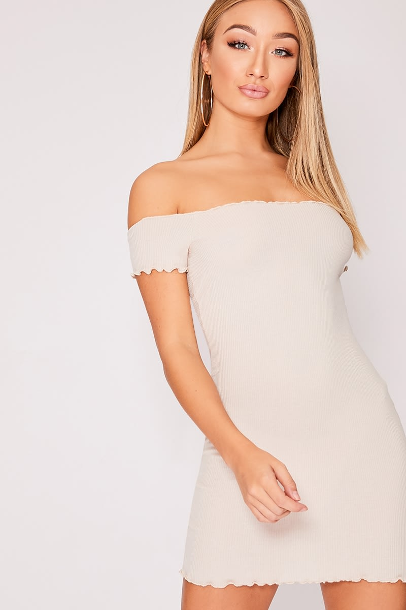 EMBERLYN STONE RIBBED FRILL EDGE BARDOT DRESS