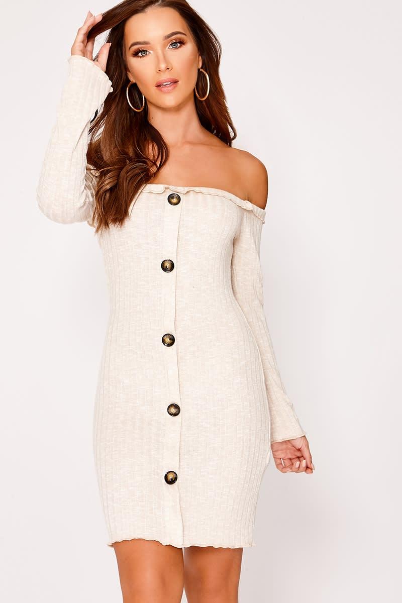 stone rib bardot button down dress