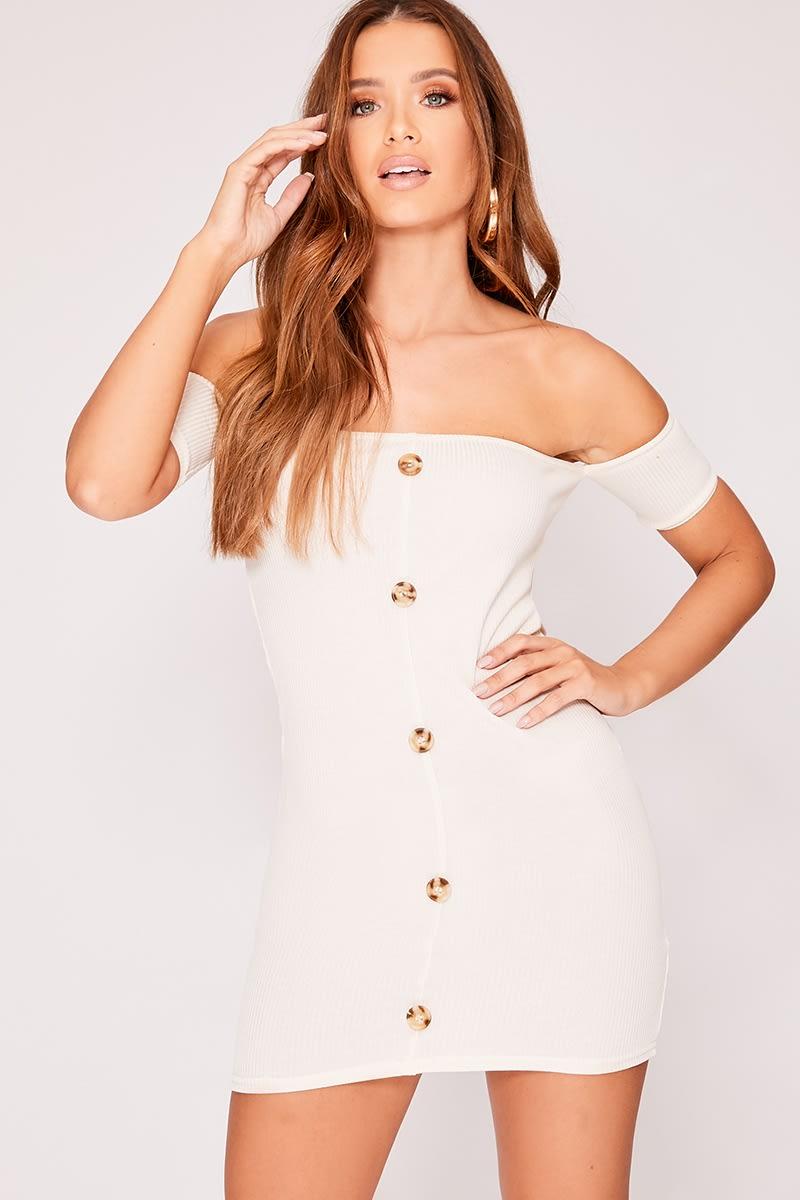 stone ribbed horn button bardot dress