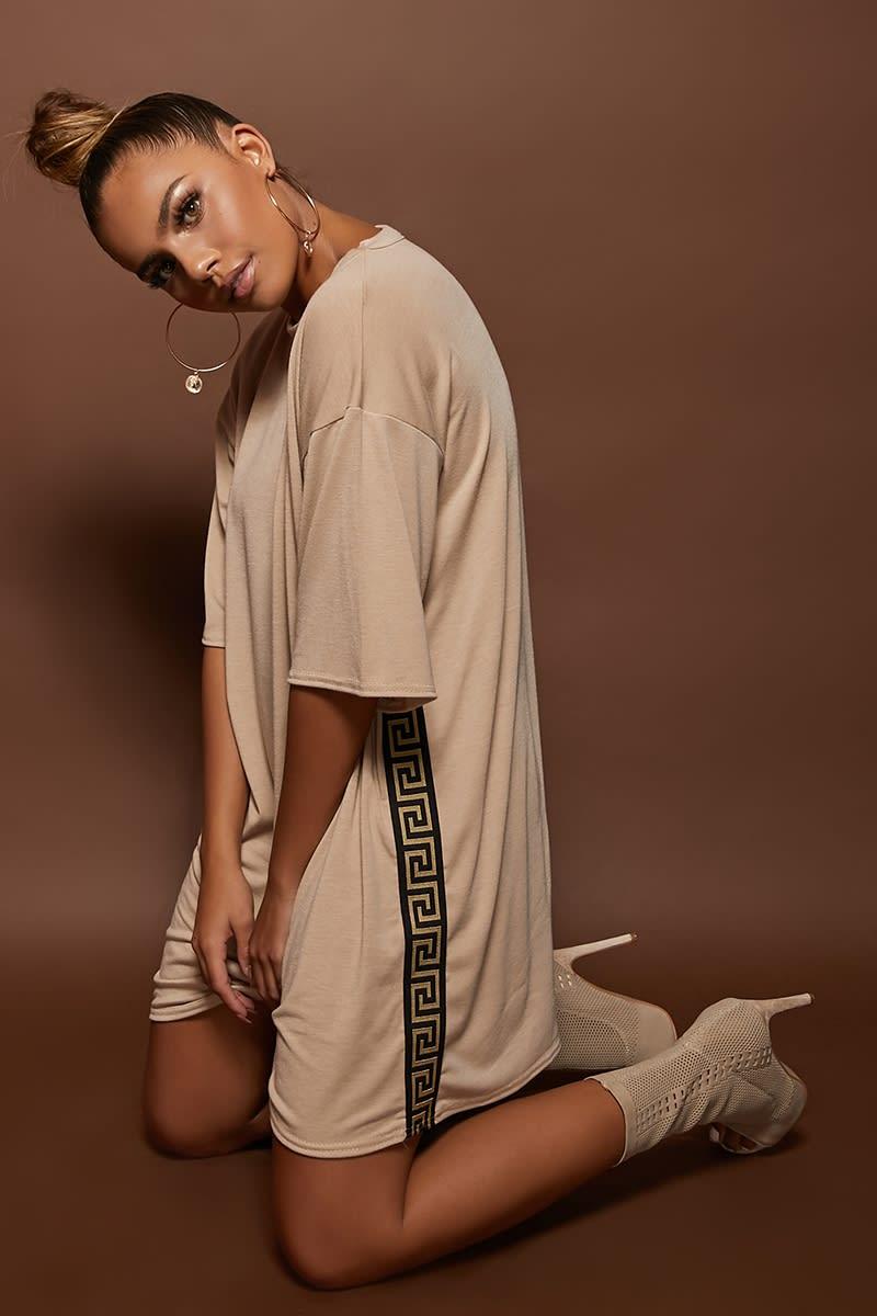 stone greek key tape trim t shirt dress