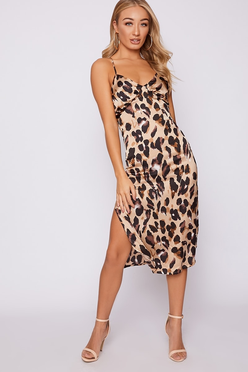 stone leopard print satin midi slip dress