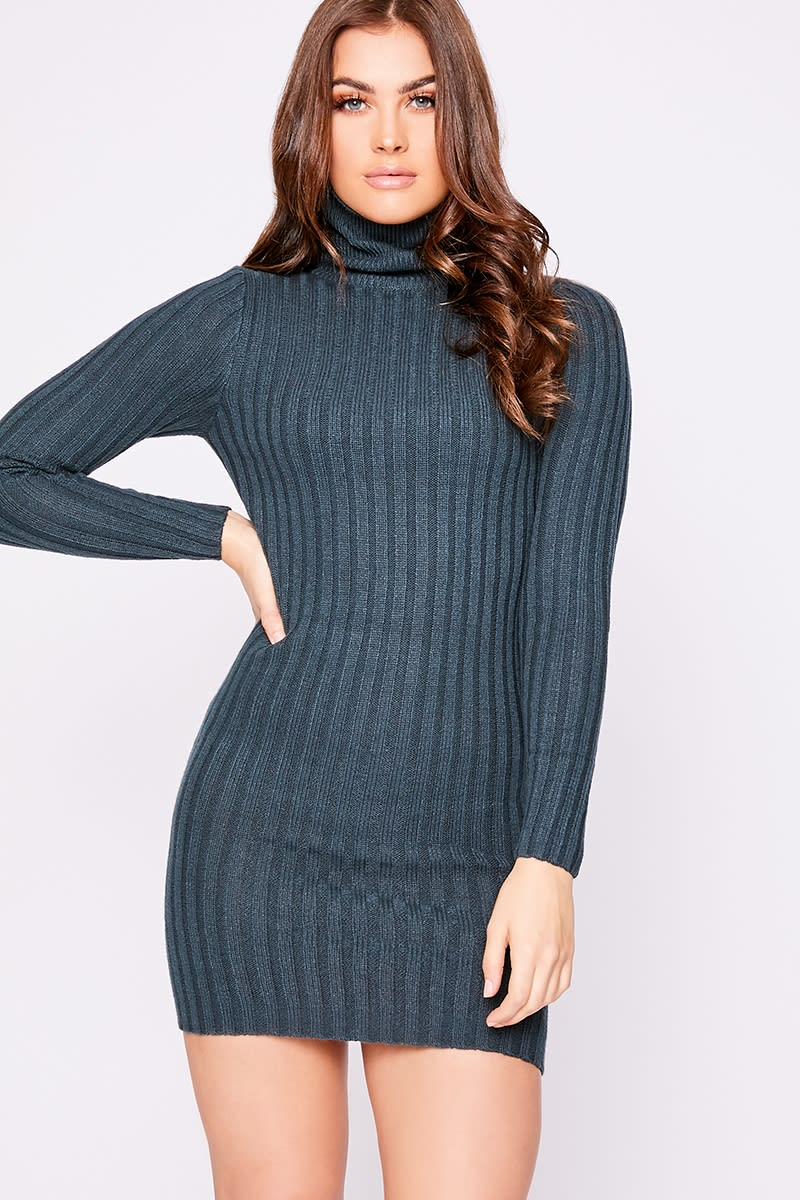 charcoal blue ribbed knit roll neck jumper dress
