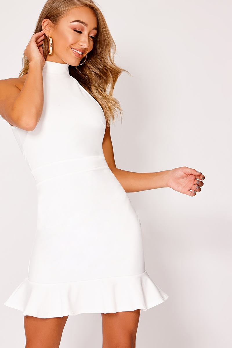 white high neck frill hem dress
