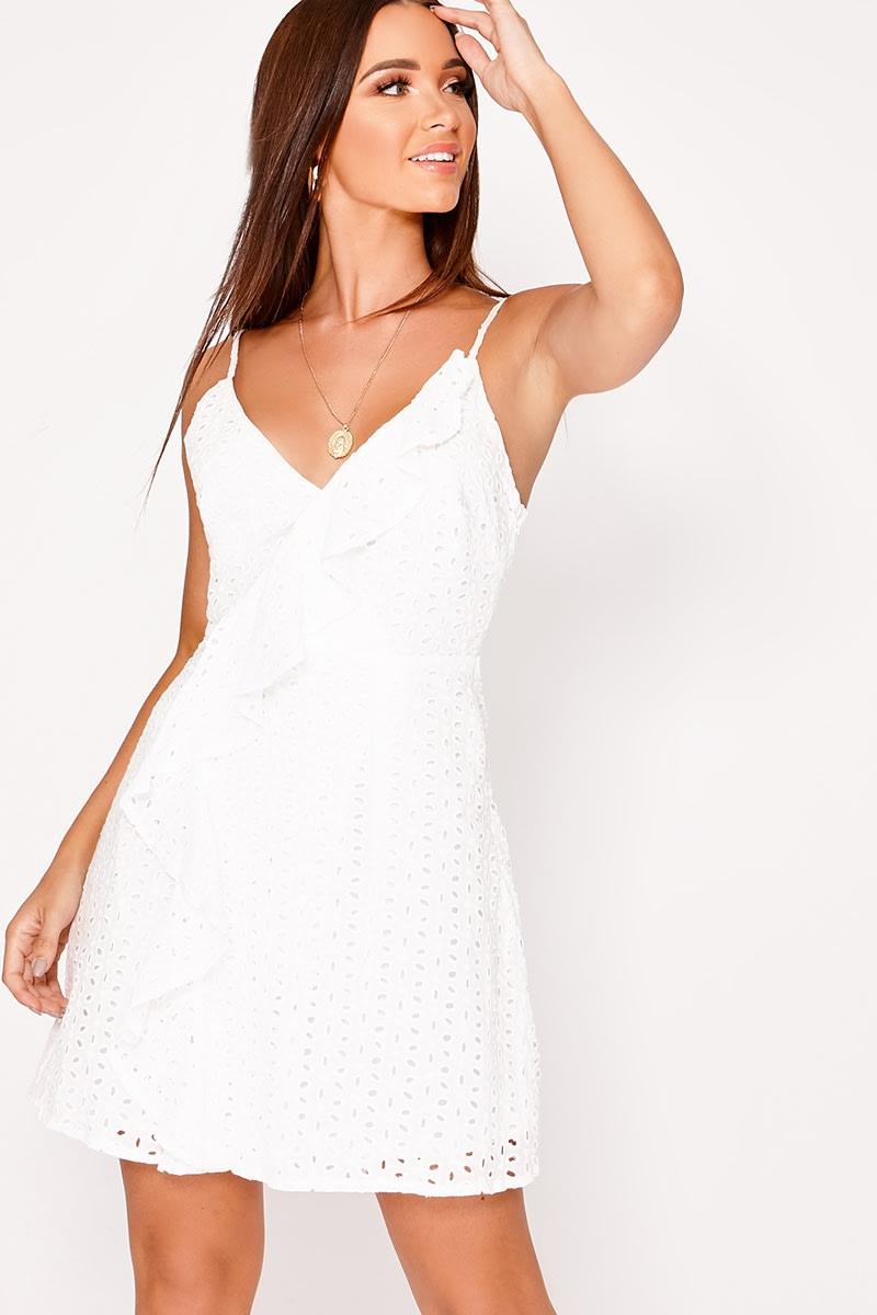 white crochet lace frill dress