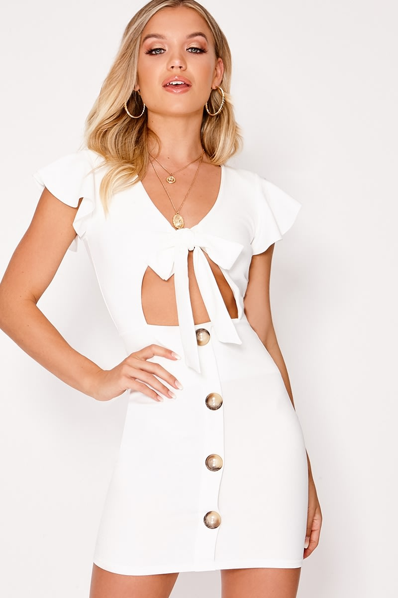 white tie front button down dress