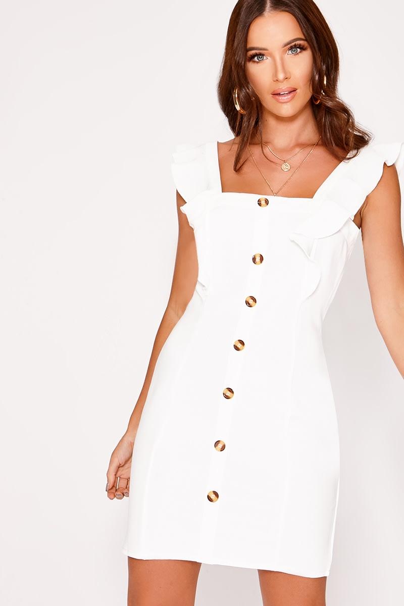 LAYLIEA WHITE FRILL BUTTON DOWN DRESS