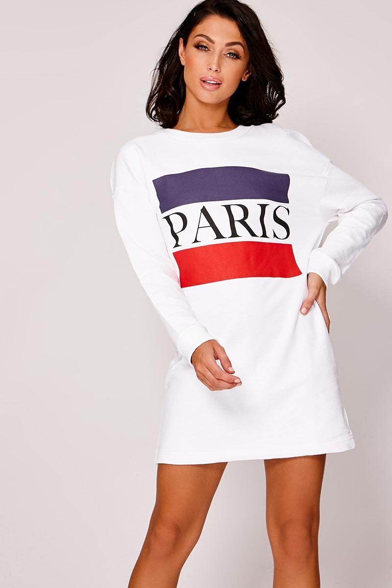 PARIS WHITE STRIPED SWEATER DRESS