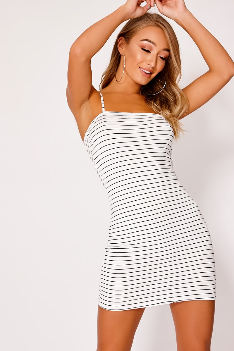 BREXLI WHITE STRIPED JERSEY SQUARE NECK BODYCON DRESS