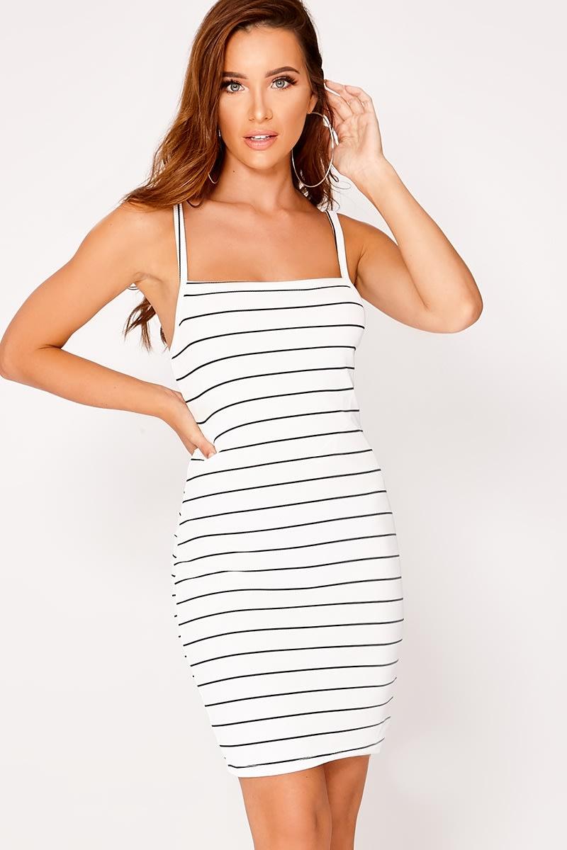 white rib striped square neck dress