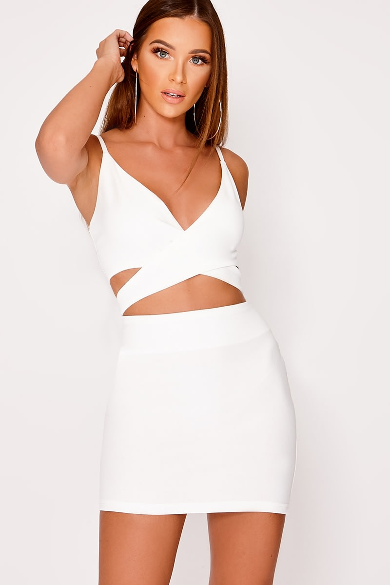 white cut out cami dress