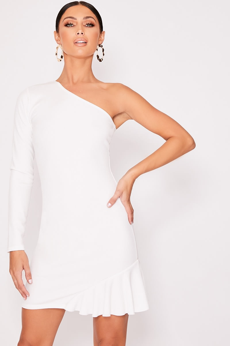 white one shoulder asymmetric frill hem dress