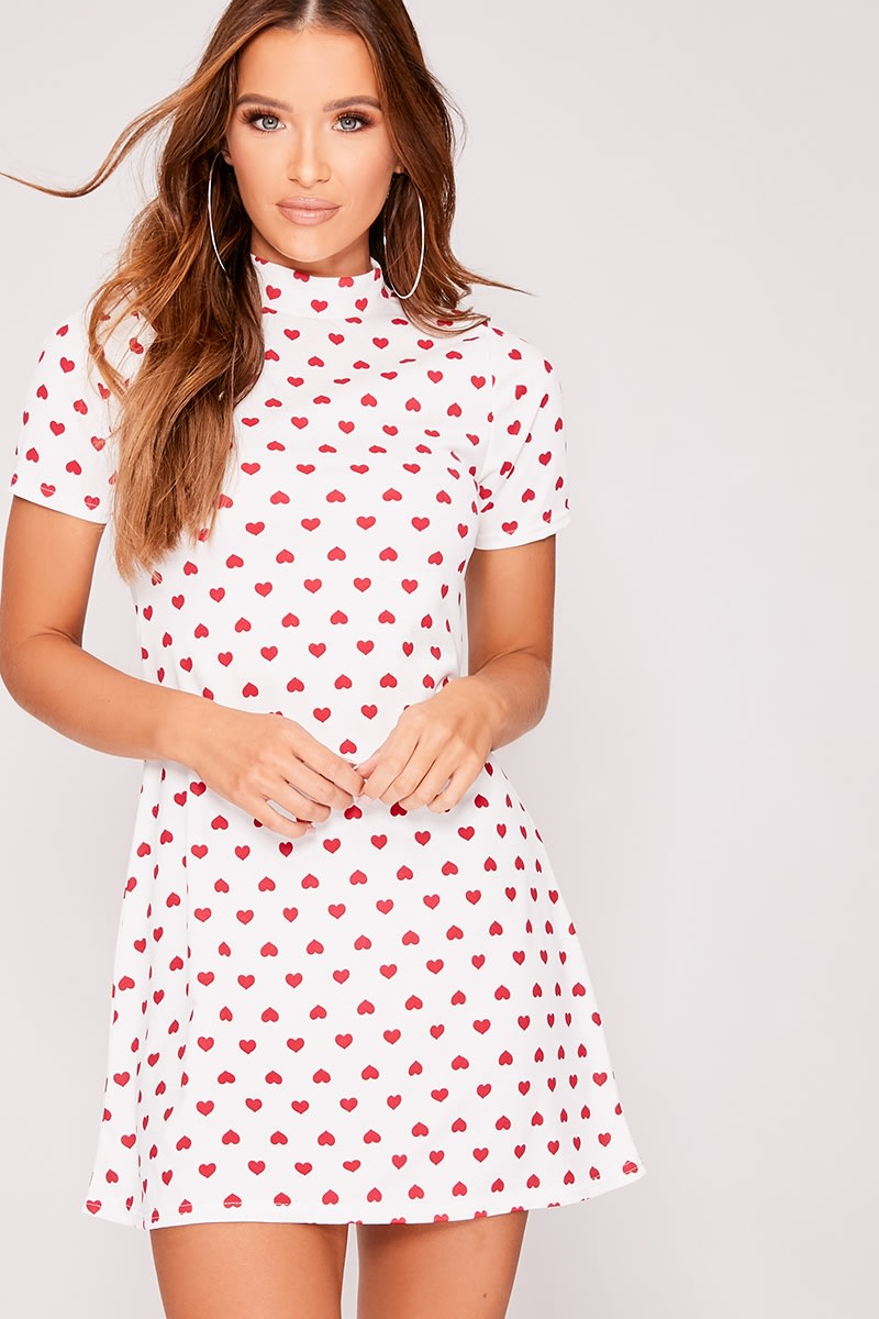 KELLI WHITE HEART PRINT HIGH NECK SWING DRESS
