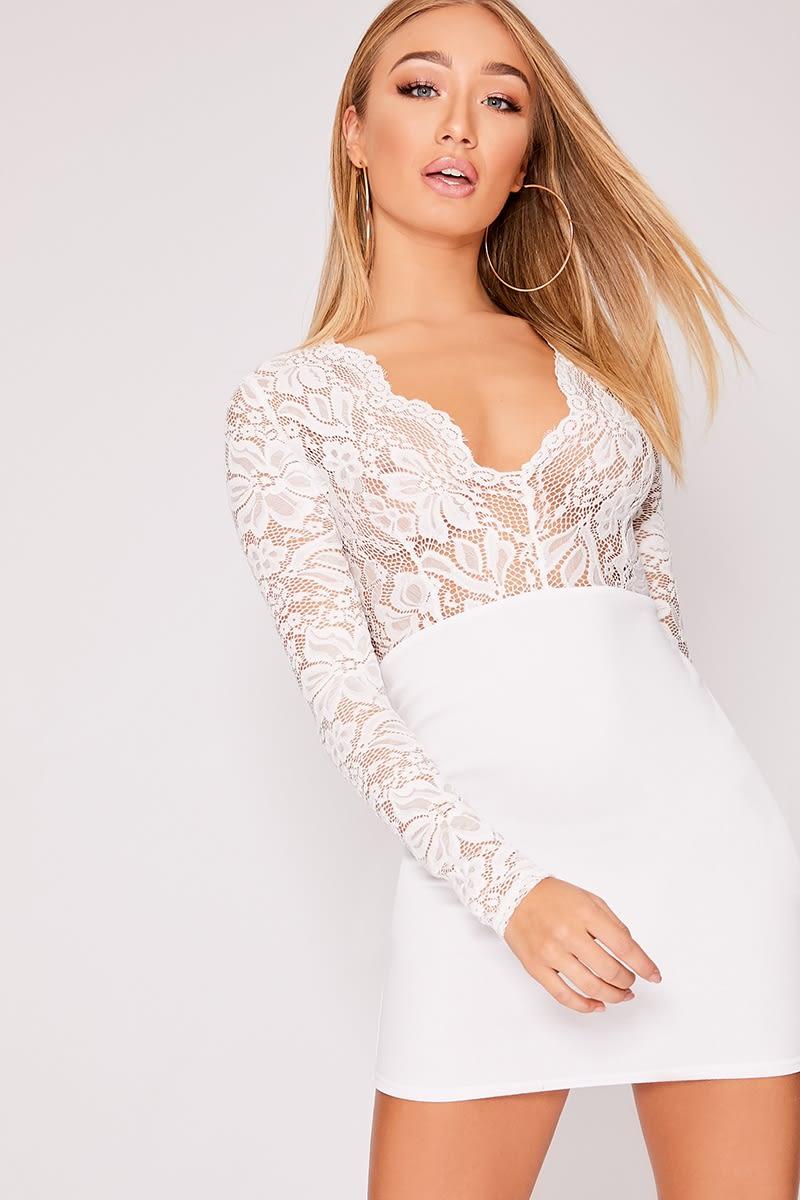 ADAEN WHITE LACE PLUNGE BODYCON DRESS