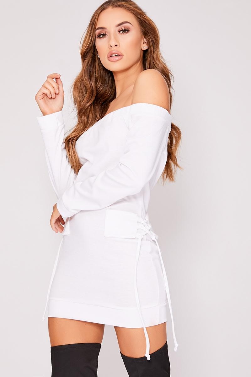 KYLEY WHITE BARDOT TIE DETAIL SWEATER DRESS