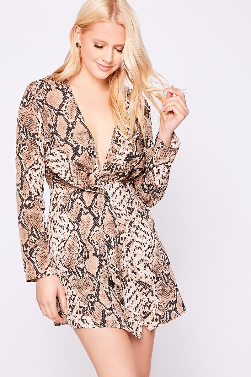 brown snake print twist front dress
