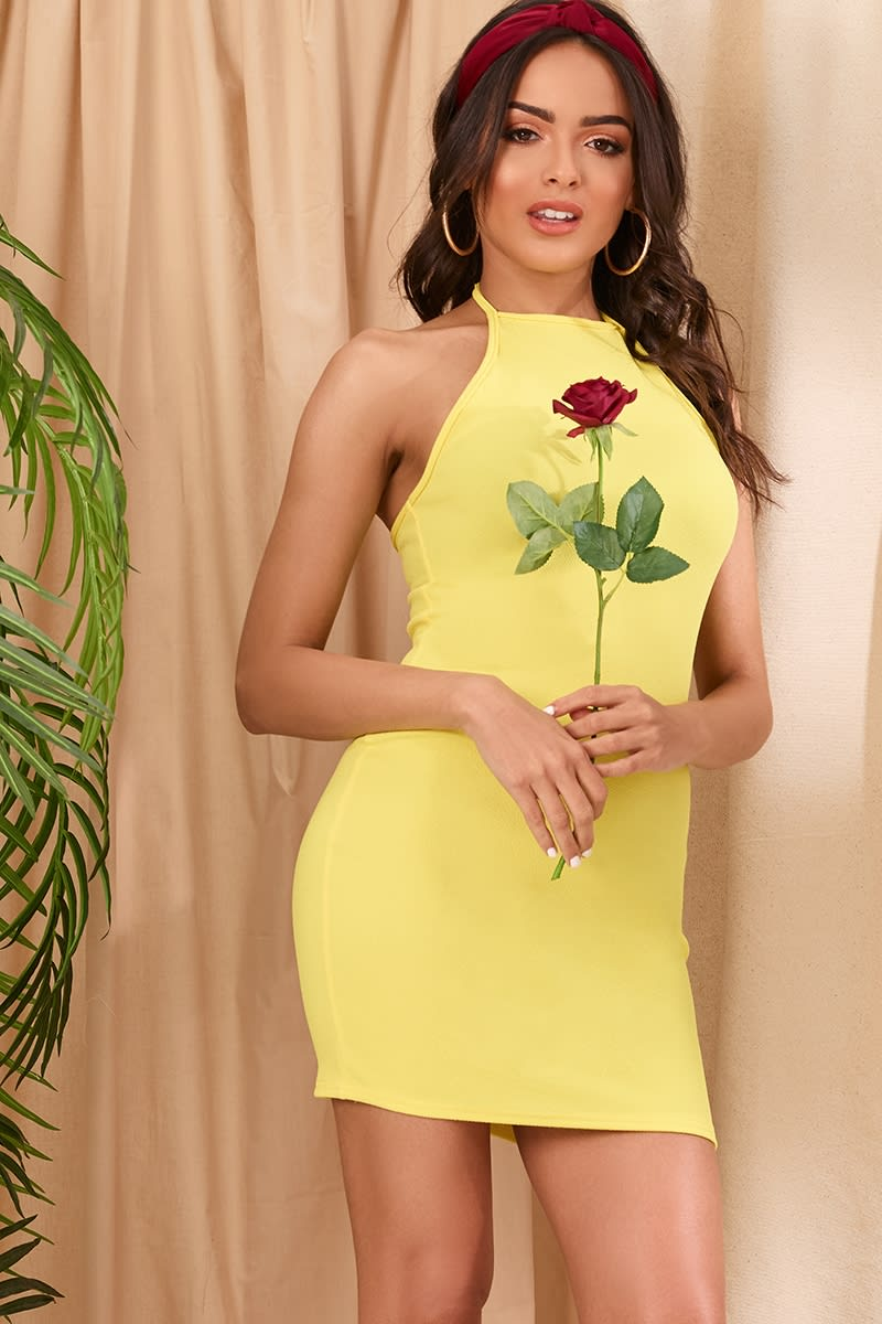 yellow crepe 90's neck mini dress