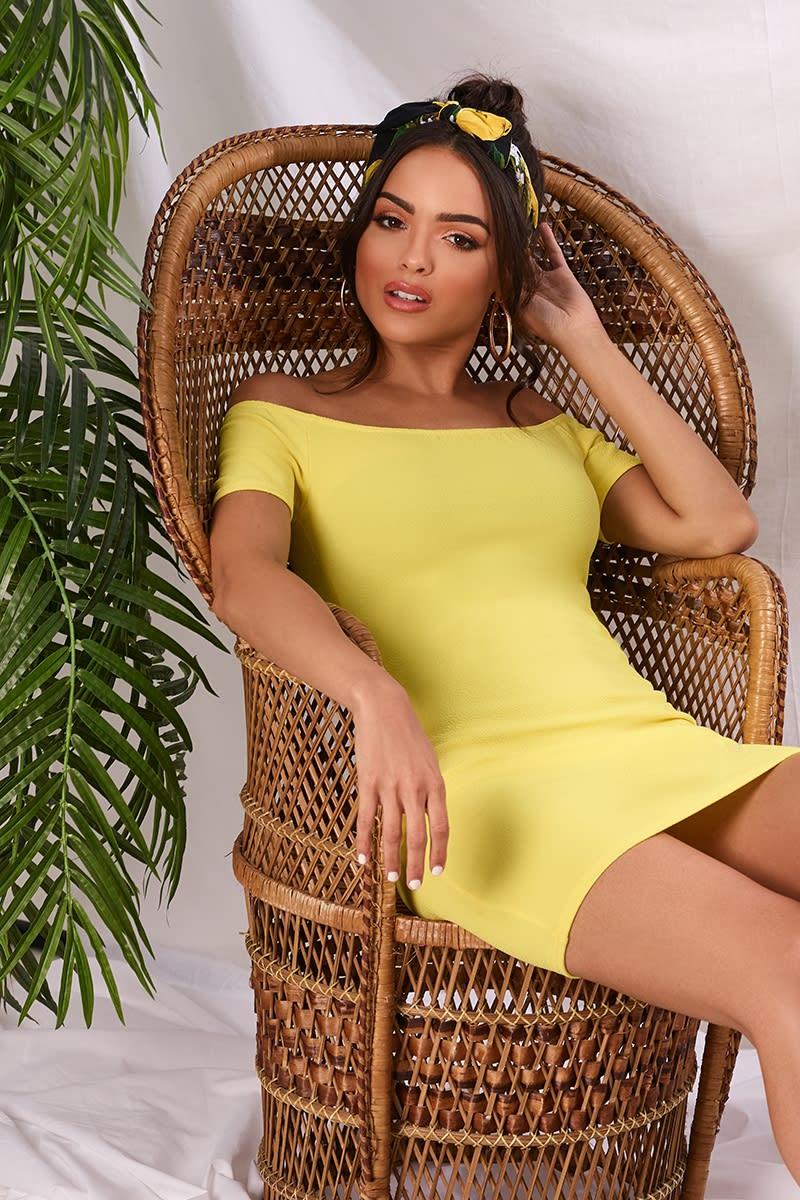 yellow crepe bardot mini dress
