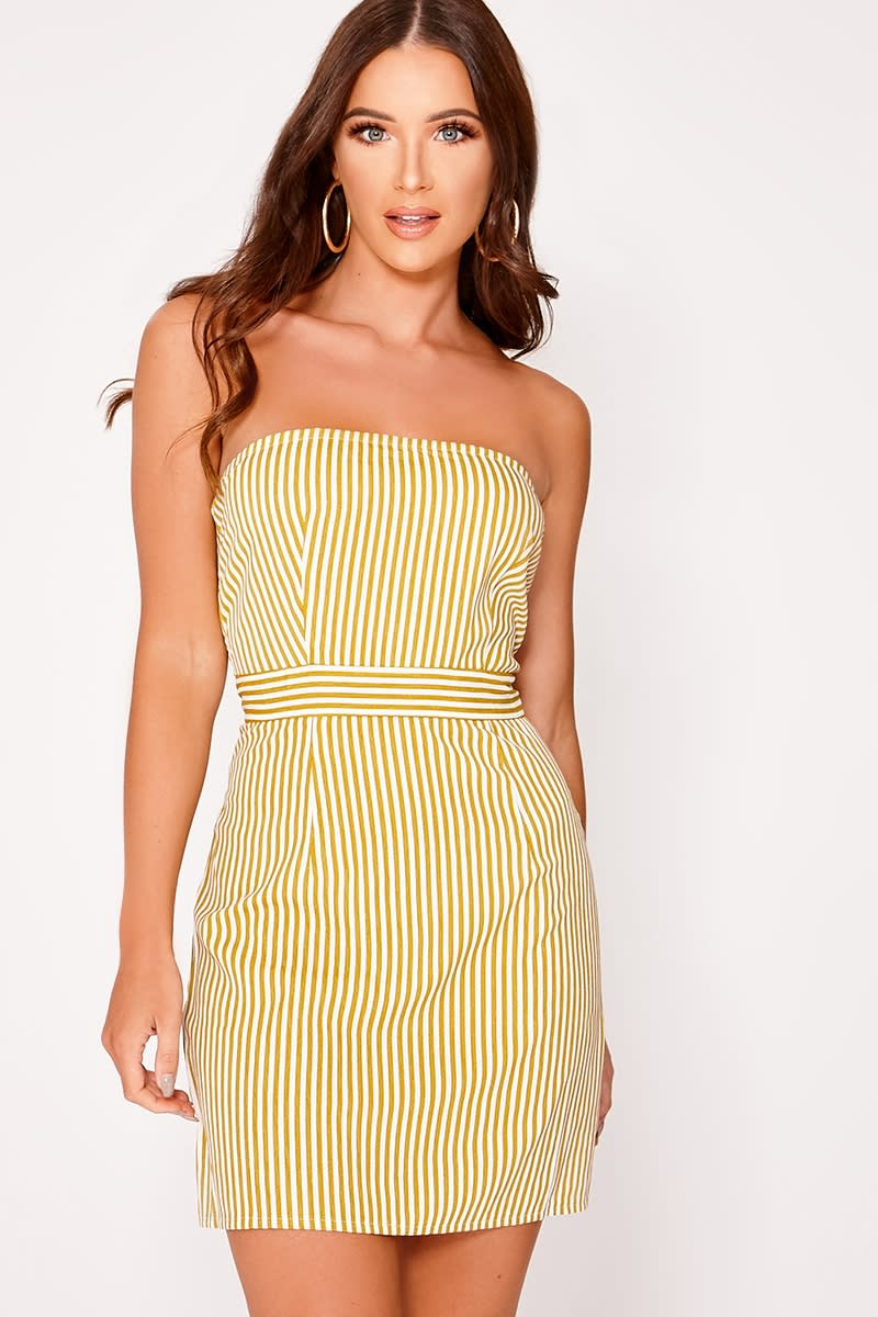 yellow striped bandeau dress