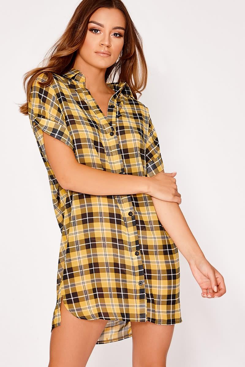 yellow oversized sheer check shirt dress