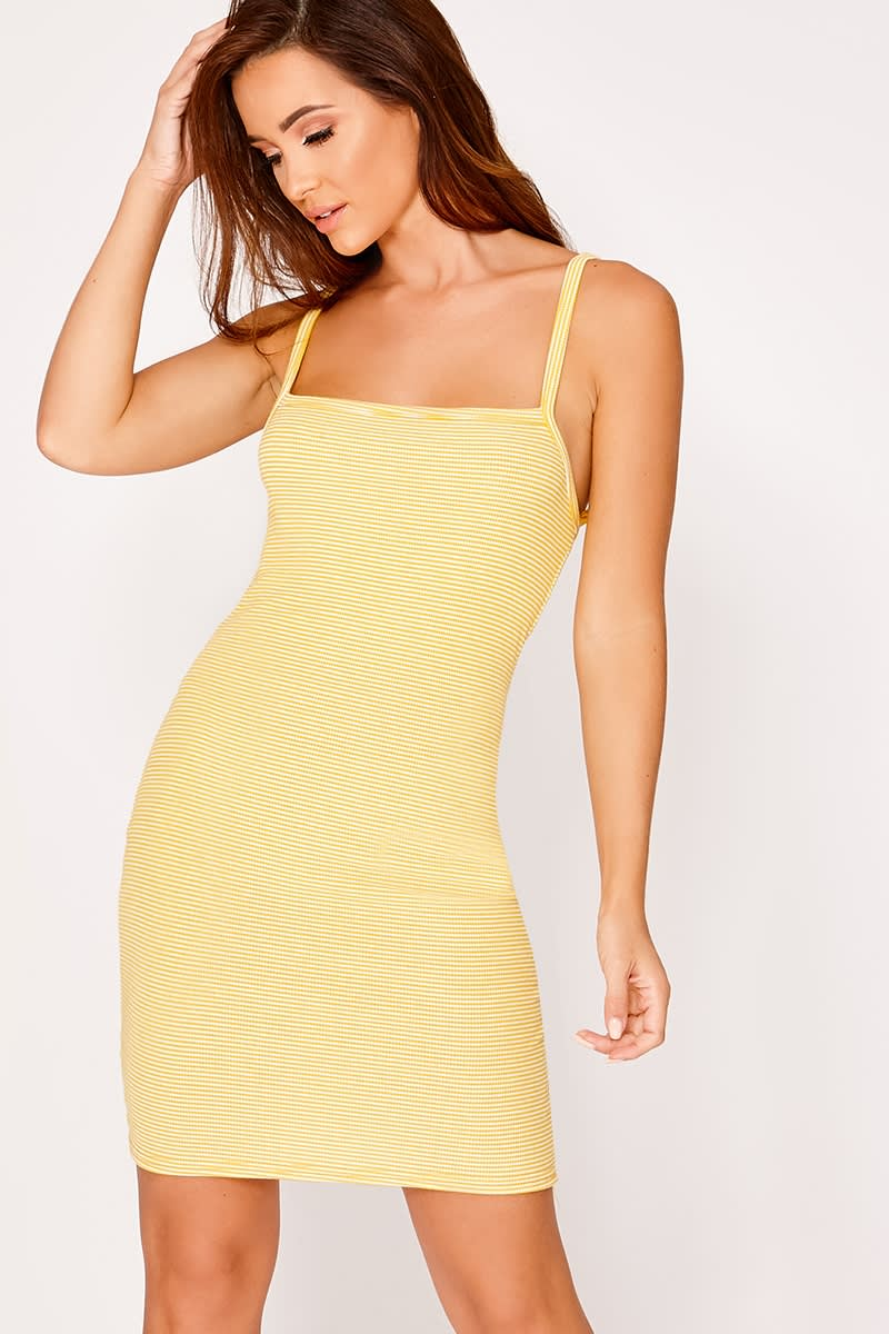 GLORYA YELLOW STRIPED SQUARE NECK DRESS
