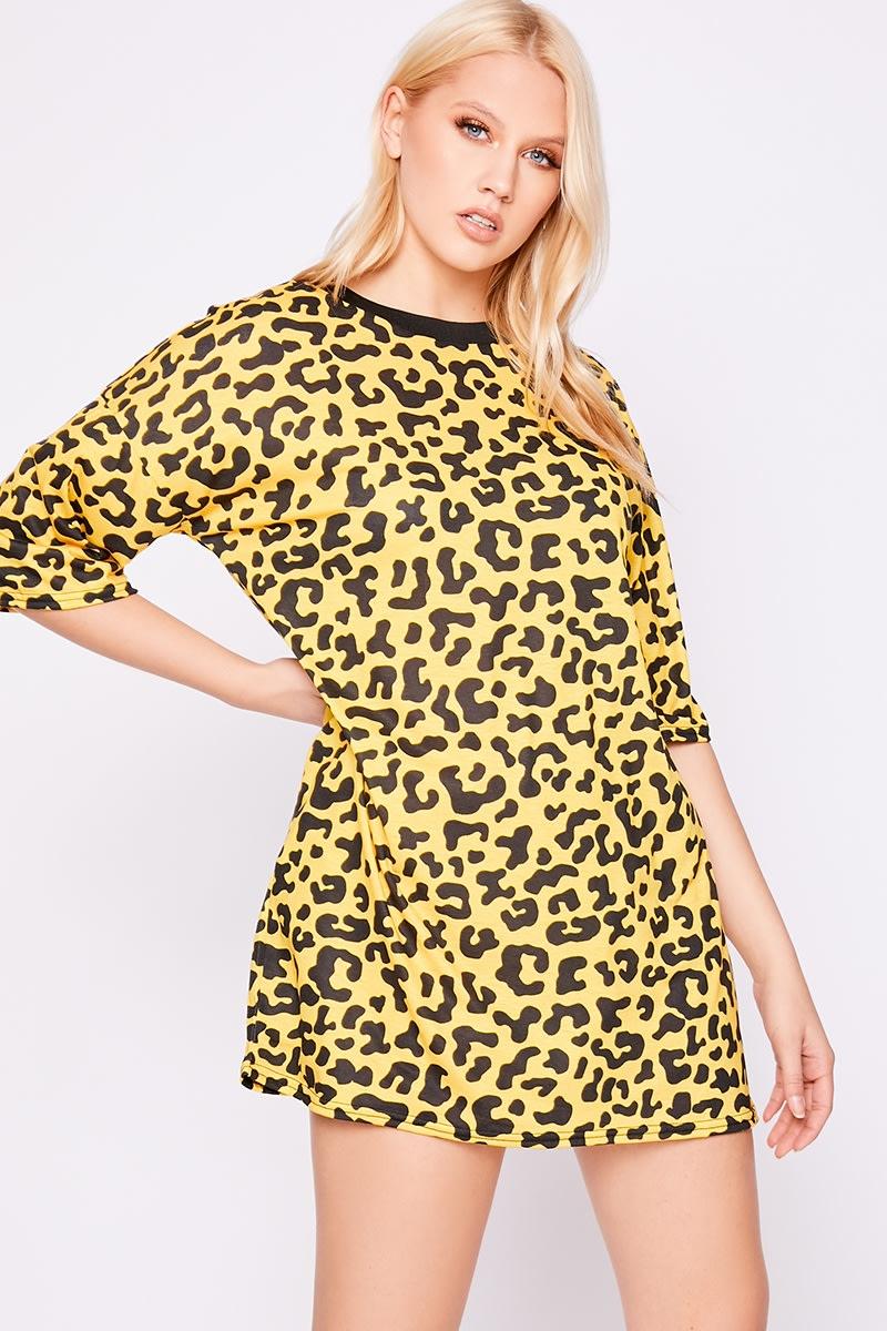 yellow leopard print oversized t shirt dress