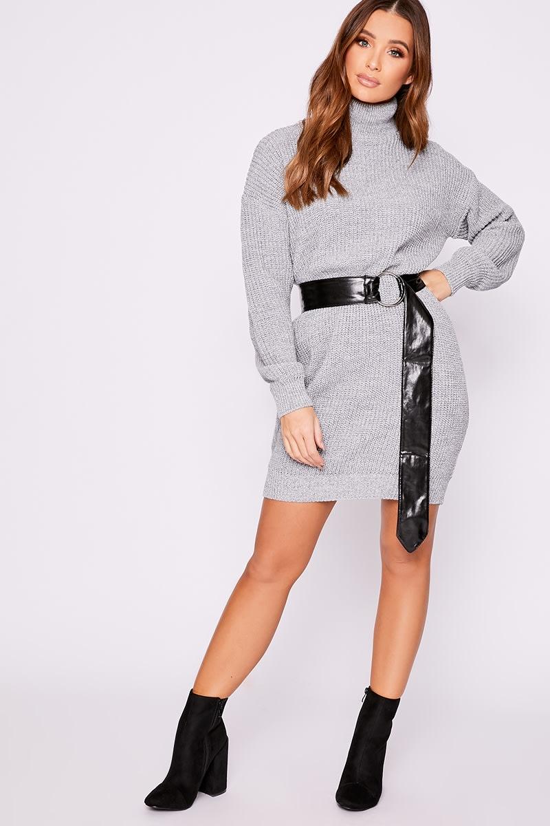 grey roll neck knitted jumper dress